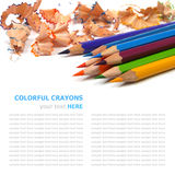 Color pencils shavings on white Stock Images