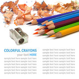 Color pencils shavings on white background Stock Images