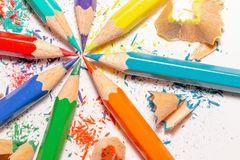 Color Pencils And Shavings On The White Background 4 royalty free stock photography