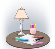 Color Pencils, Sheets and Lamp Stock Photos
