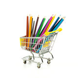 Color pencils in shopping cart. Stock Image