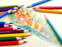 Color pencils and sketch royalty free stock image