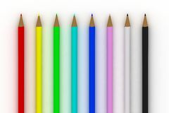 Color pencils specter on white Royalty Free Stock Photos