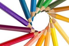 Color pencils spread around Stock Photos