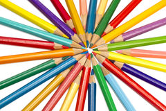 Color pencils spread around Royalty Free Stock Images