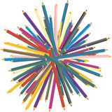 Color pencils stack. Color pencils over white background Royalty Free Stock Photos
