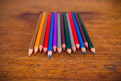 Color pencils on the table Royalty Free Stock Images