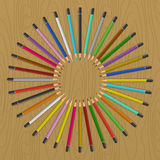 Color pencils on table Royalty Free Stock Photos
