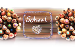 Color pencils with the text Love school. Color pencils with text Love school Royalty Free Stock Image