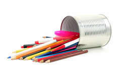 Color pencils in tin Royalty Free Stock Images