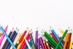 Color pencils topsy-turvy pile with white space. Color pencils topsy-turvy pile with copy space Stock Images