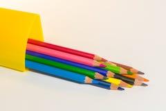 Color pencils. Twelve color of The color wood  pencils Stock Photos