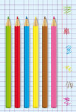 Color pencils vector. Colored pencils on paper sheet Stock Photography