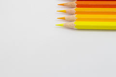 Color pencils warm tone on white background Stock Photo