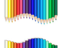 Color pencils wave. Color pencils making a wave over white royalty free illustration