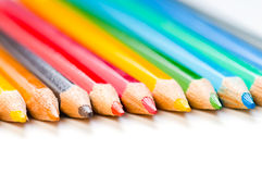 Color pencils on a white. Background Royalty Free Stock Photos
