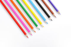 Color pencils on white. Background royalty free stock photos