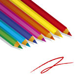 Color pencils on white background. Several color pencils laying on a white background Royalty Free Stock Images