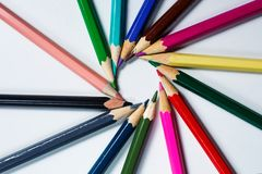 Color pencils on white background. Color pencils on a white background Royalty Free Stock Images