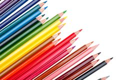 Color pencils on the white background Stock Photos