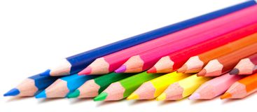 Color pencils on the white background Stock Photo