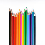Color pencils on white background. Close up of color pencils on white background with clipping path royalty free stock images
