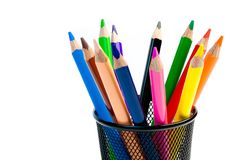 Color pencils on white background Royalty Free Stock Photos