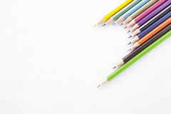 Color pencils on white background. Colors pencils on white background, idea for advertise, publishing information, design or making postcard, calendar royalty free stock photos