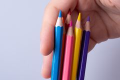 Color Pencils on a white background royalty free stock images