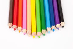 Color pencils on white background. Color pencils isolated on white background close up Stock Photo