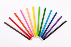 Color pencils on white background. Color pencils isolated on white background close up Royalty Free Stock Images