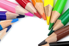 Color pencils on white background - macro image Royalty Free Stock Photography