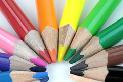 Color pencils on white background - macro image Stock Images