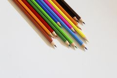 Color pencils on white background. royalty free stock images