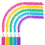 Color pencils on white background with rainbow lines. Vector ill Royalty Free Stock Photos