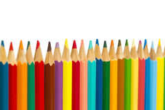 Color pencils on white background, small depth of sharpness Stock Photography