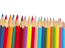 Color pencils on white background, small depth of sharpness Stock Photos