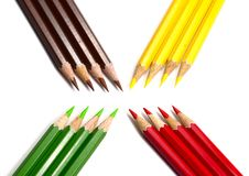 Color pencils on white background with space Stock Image