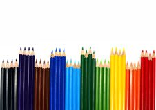 The color pencils on white background with space Royalty Free Stock Images