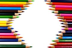 The color pencils on white background with space Royalty Free Stock Photo