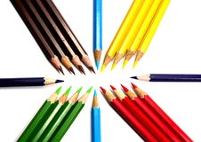 Color pencils on white background with space Royalty Free Stock Photo