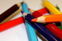 Color Pencil. S on white backround royalty free stock image