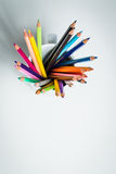 Color Pencils in a white mug Stock Photos