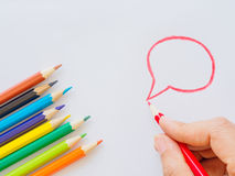 Color pencils on white paper. Education material back to school, for background and wallpaper Royalty Free Stock Photo