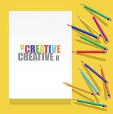 Color pencils with white paper and text Royalty Free Stock Photos