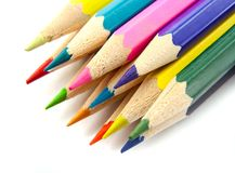 Color pencils  on a white top view Stock Photography