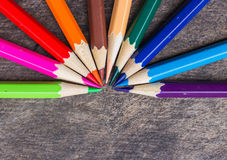 Color pencils on wood Stock Image
