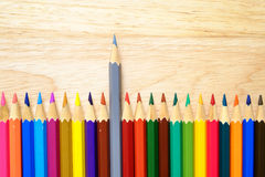 Color pencils on wood background stock photos