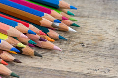 Color pencils on wood background close up ,Color pencils Background Royalty Free Stock Photos