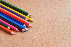 Color pencils on wood background. Education concept. stock photography